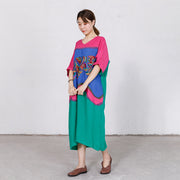 Embroidery Contrast Color Stitching Loose Dress
