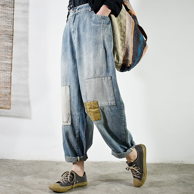 Embroidery Fishbone Patchwork Casual Jeans