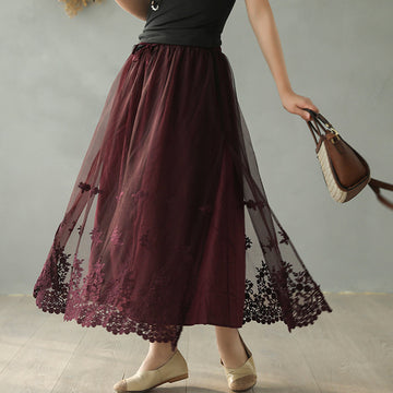Embroidery Lace Two-layer Skirt