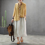 Embroidery Linen Drawstring Retro Casual Skirt