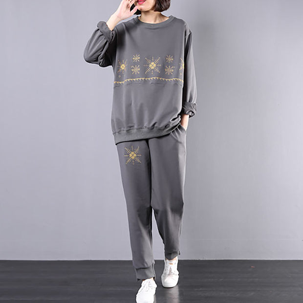 Embroidery Round Collar Sweatshirt And Casual Pants