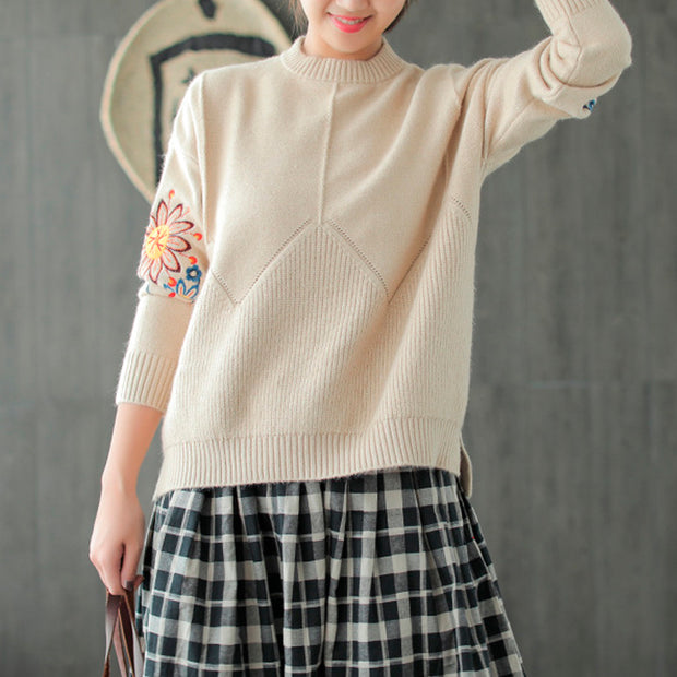 Ethnic Floral Embroidery Women Sweater