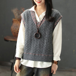 Ethnic Floral Sleeveless Pullover V-neck Sweater