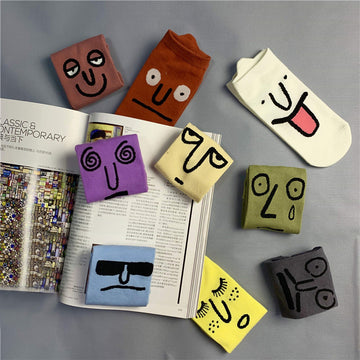 Facial Expression Cotton Boat Socks(4 Pairs)