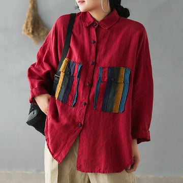 Fake Colored Striped Pockets Caual Shirt