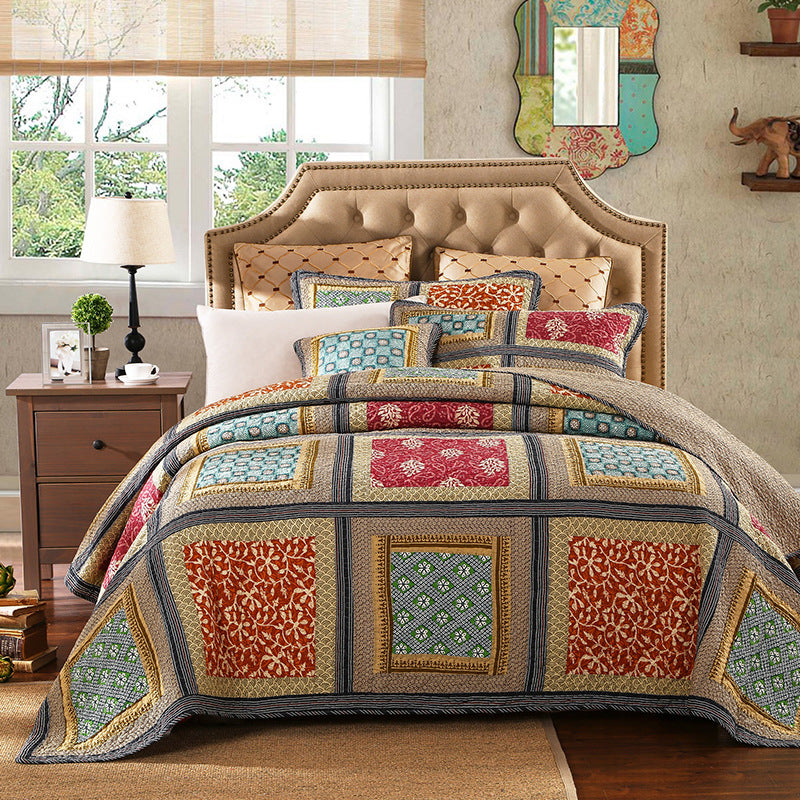 Fashion Colored Printed Patchwork Bedding 3 Piece Set