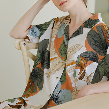 Fashion Flower Leaf Print Summer Thin Viscose Pajamas