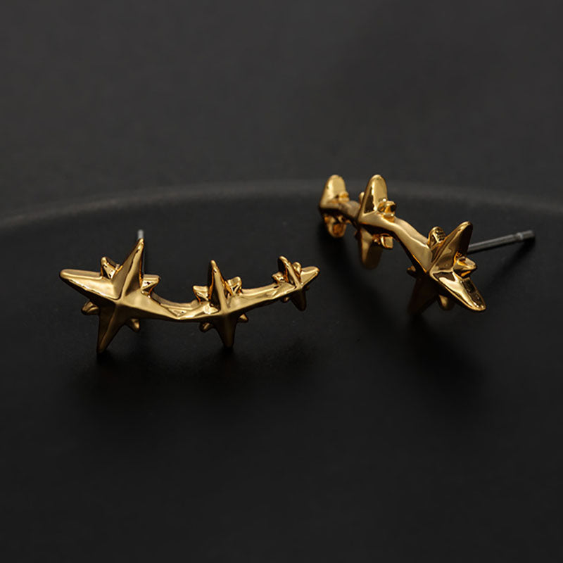 Fashion Gold Plated Geometry Star Ear Studs(2 Pairs)