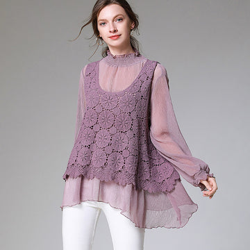 Plus Size - Fashion Hollow Out Splicing Chiffon Blouse