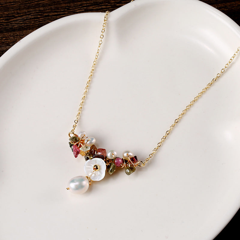 Fashion Pearl Shell Multicolor Stone Necklace