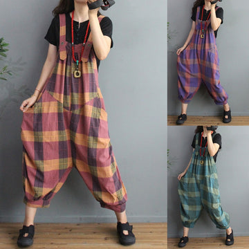 Fashion Plaid Cotton Linen Summer Jumpsuit