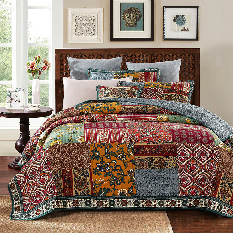 Fashion Printed Splicing Cotton Bedding 3 Piece Set