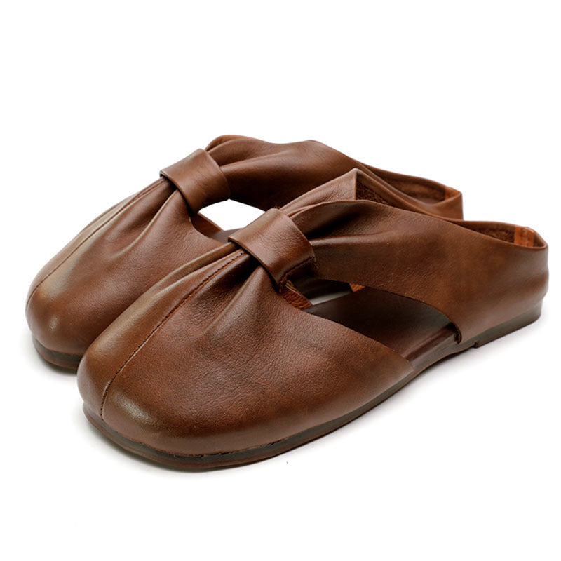 Fashion Solid Color Outdoor Leather Slippers