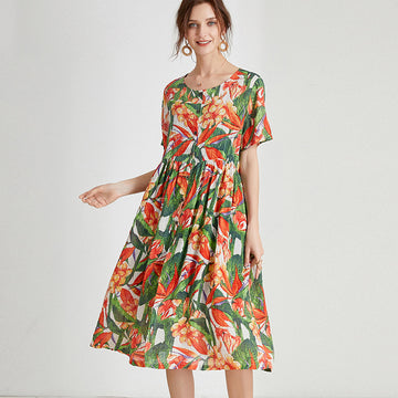 Fashion Summer Floral Print Cotton Single Breasted Dress