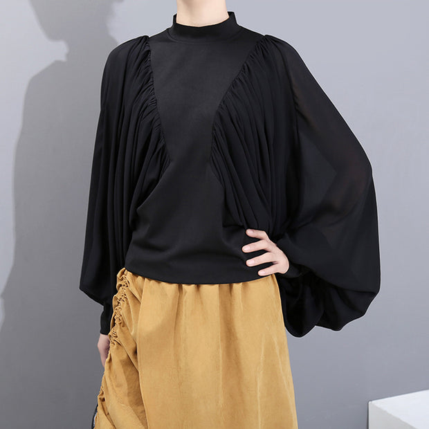 Fashion Bat Sleeve Solid Color Pleated Blouse