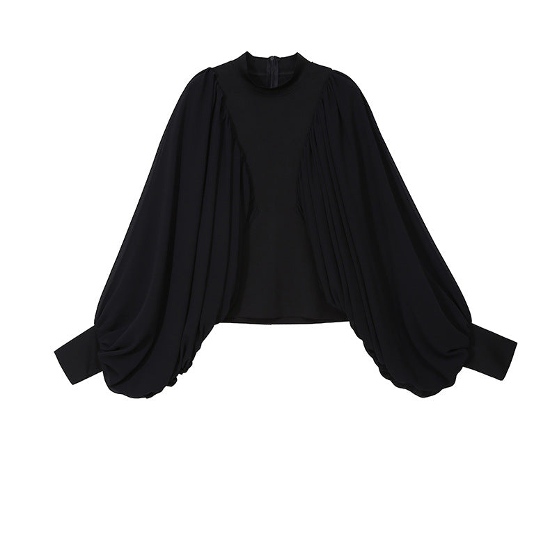 Fashion Bat Sleeve Solid Color Pleated T-shirt