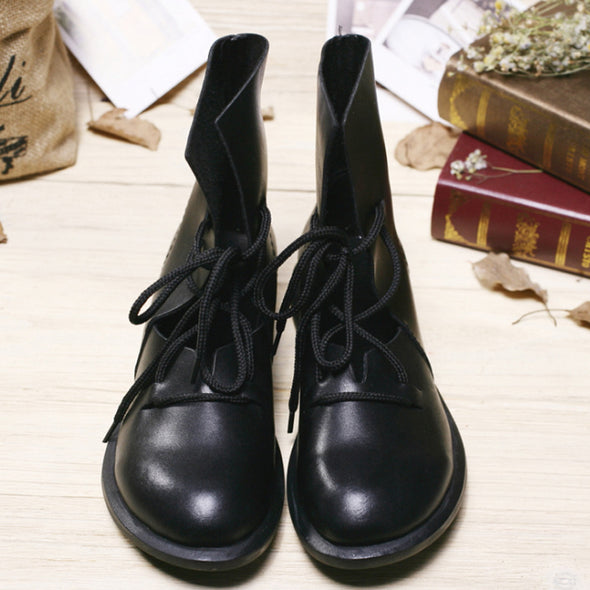 Fashion Black Lace Up Hollow Buskin Boots