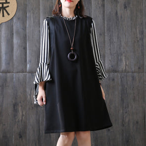 Fashion Black Stripe Cotton Literature Dress