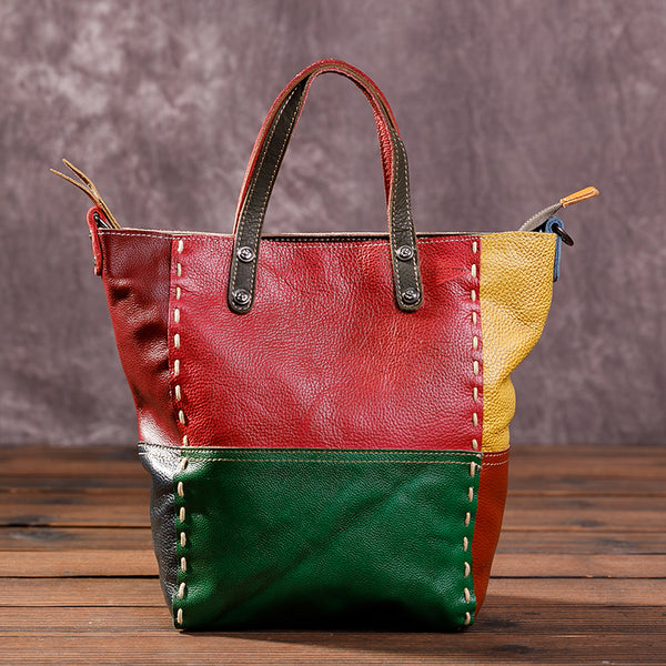 Fashion Color Block Casual Leather Tote Bag
