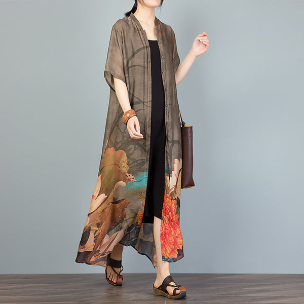 Fashion Elegant Floral Printed Split Summer Coat