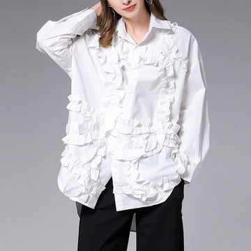 Fashion Frill High Low Hem Shirt