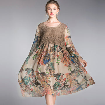 Plus Size - Fashion Lace Stitching Floral Print Dress