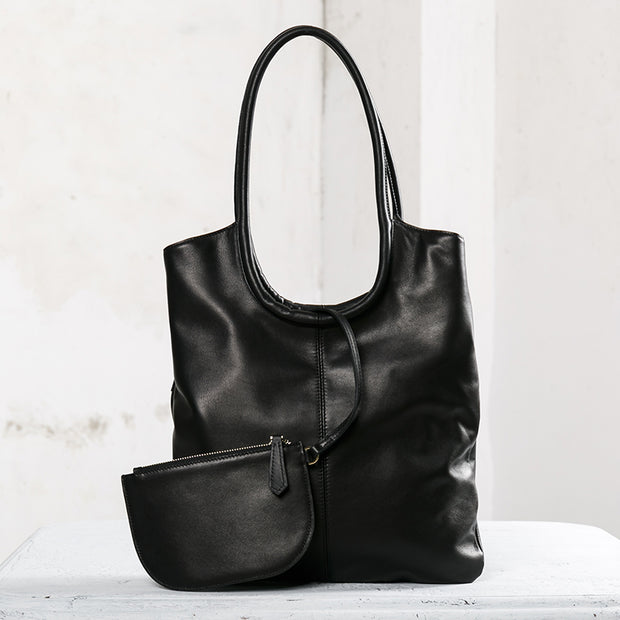 Fashion Leather Tote Bag With A Small Bag
