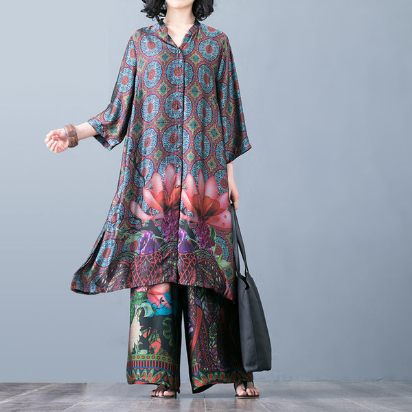 Fashion Lotus Print Silk Two Piece Suit