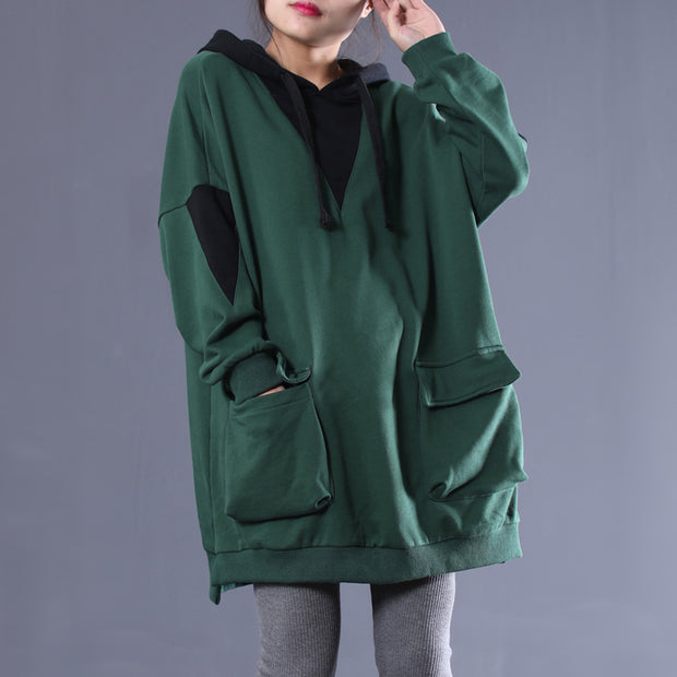 Fashion Patchwork Female Cotton Hooded Dress