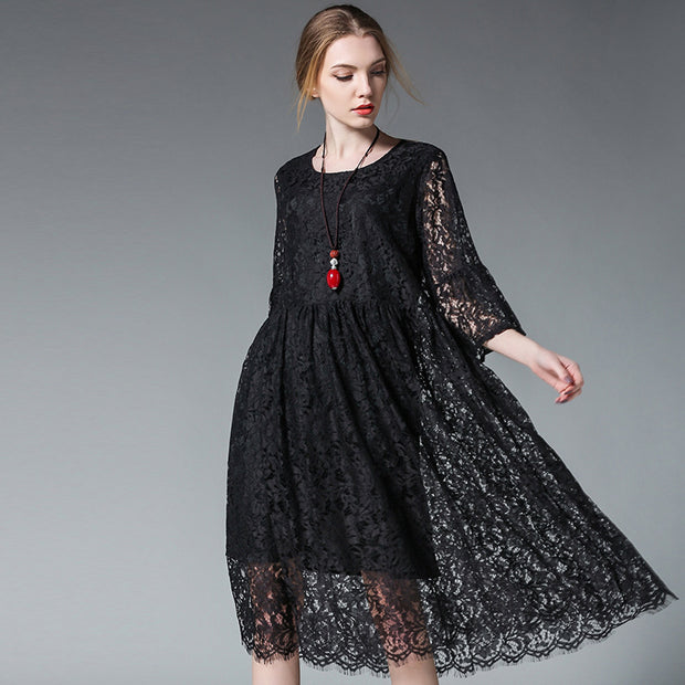 Fashion Pleated Hollow Out Lace Dress
