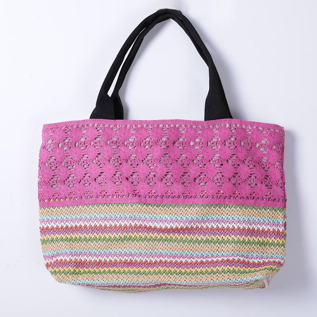 Fashion Polyester Plastic Paper Potton Hollow Out Casual Tote Women Shoulder Bag