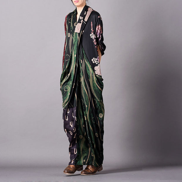 Fashion Print Silk Fishtail Maxi Dress
