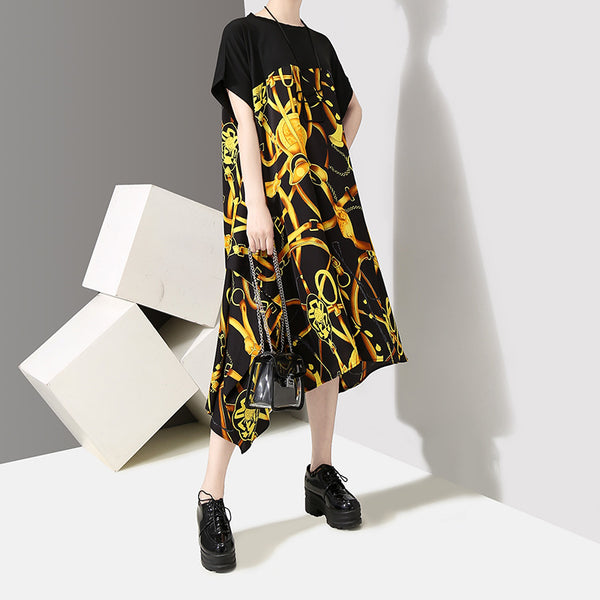 ce5889b60a6 Fashion Printed Splicing Pullover O-Neck Dress