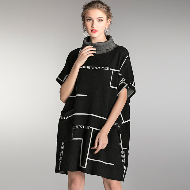 Fashion Printed Turtleneck Thick Loose Dress