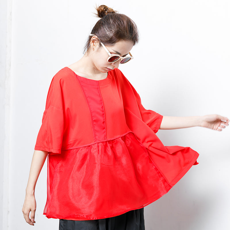 Fashion Pure Color Spliced Comfortable T-Shirt