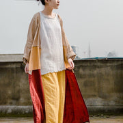 Fashion Solid Color Cotton Yarn Wide Leg Pants
