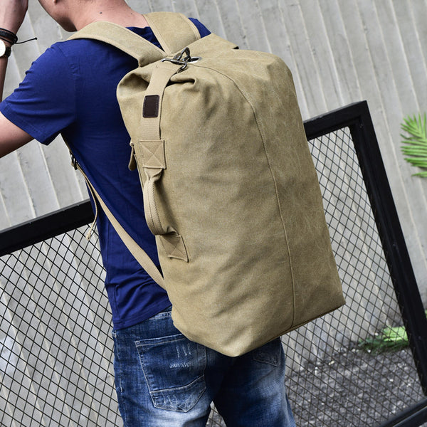Fashion Sports Travel Canvas Cuboid Backpack