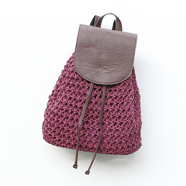 Fashion Straw Weave Summer Travel Backpack