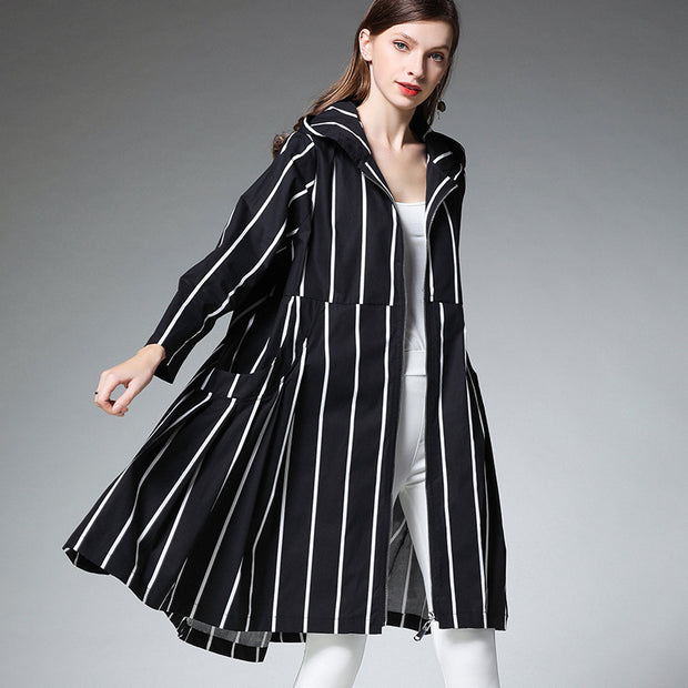 Fashion Striped Zipper Hooded Loose Coat