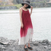 Fashion Women Summer Beach Sleeveless Dress In Gradient Color