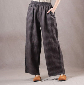 Femal Casual Linen Striped Vintage Wide Leg Pants