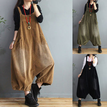 Female Autumn Corduroy Pocket Loose Jumpsuits