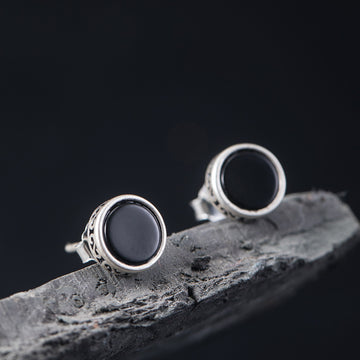 Female Black Agate Round Silver Ear Studs