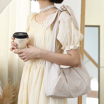 Female Bow Knot Pure Color Shoulder Bag