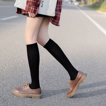 Female Cotton Pure Color Socks(3 Pairs)