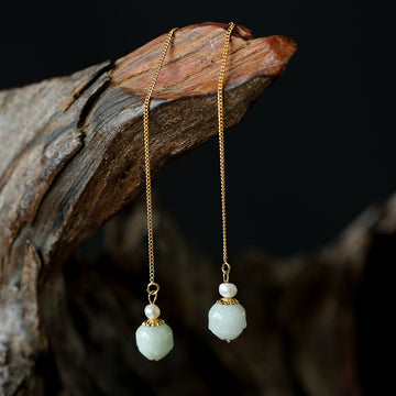 Female Elegant Jade Pearl Earrings