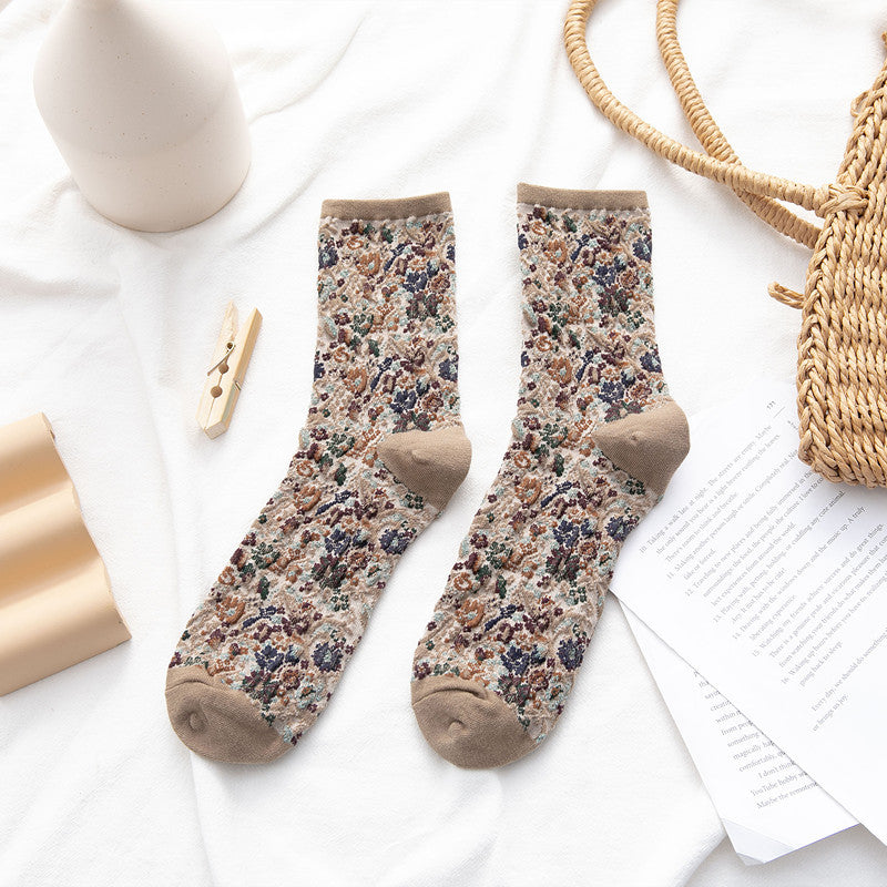 Female Floral Cotton Socks(3 Pairs)
