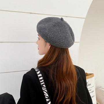 Female Knitted Winter Beret Corduroy Hat