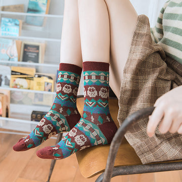 Female Owl Pattern Cotton Socks(5 Pairs)