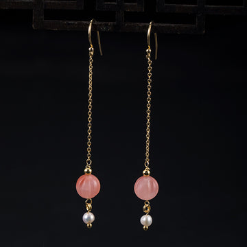 Female Pumpkin Pearl Silver Earrings